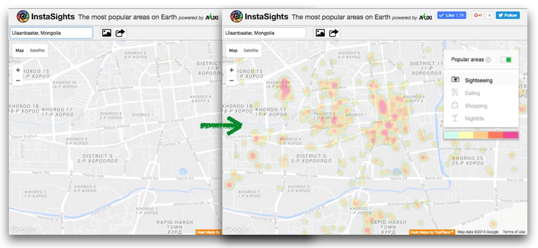 AOIs: AVUXI's TopPlace vs Google Maps comparison - Ulaanbaatar, Mongolia