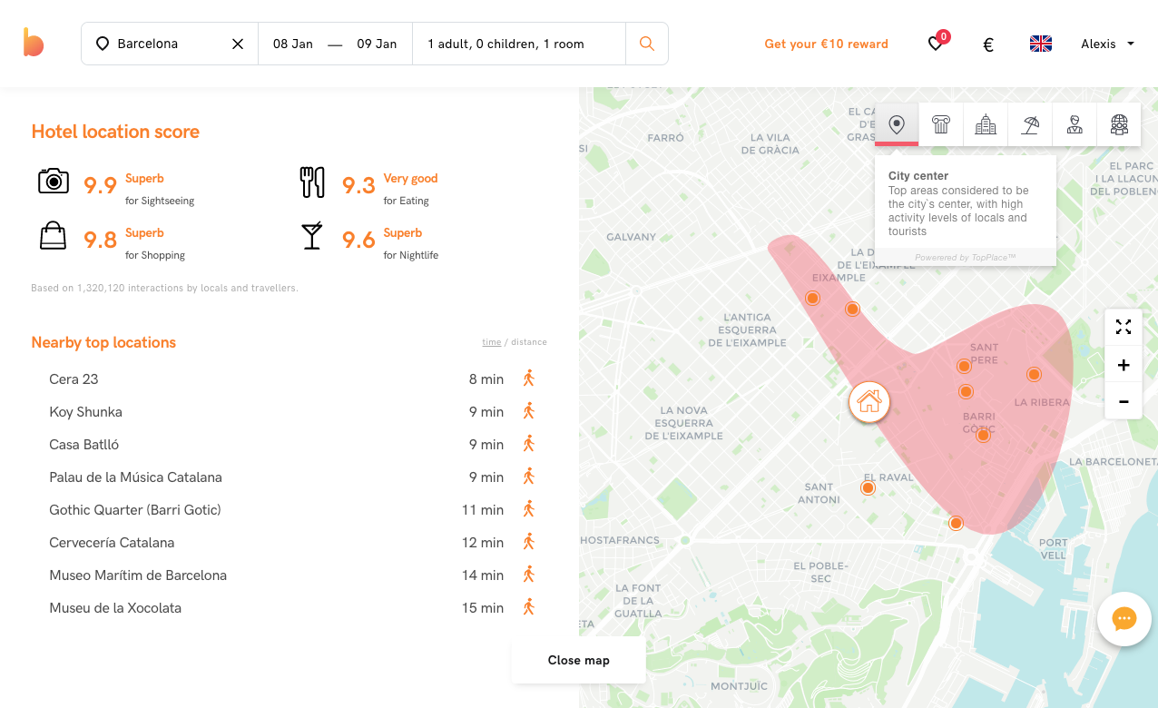 The TopPlace™ Location Page powering location context at Bidroom.