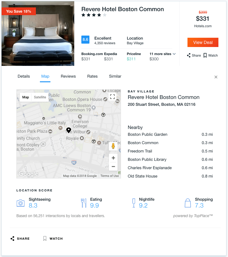 TopPlace™ location scores on KAYAK