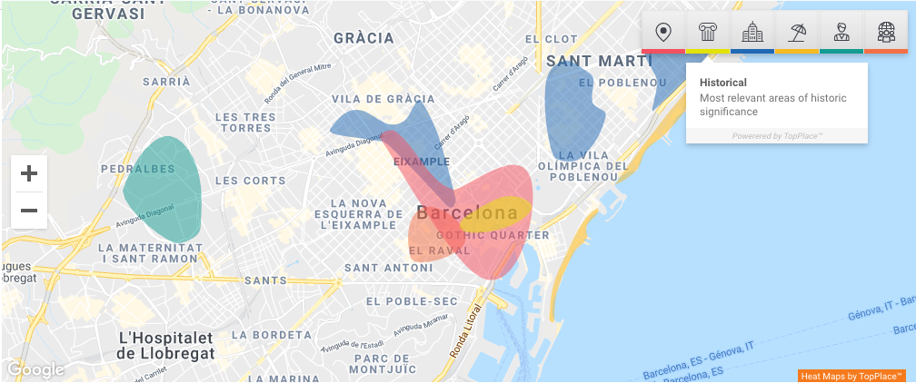 Areas of Interest by TopPlace™ in the Barcelona area