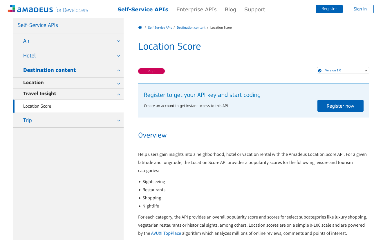 TopPlace™ Location Scores on Amadeus for Developers APIs Portal
